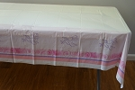 Pink Christian cross and dove plastic tablecloth